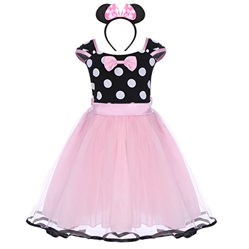 Robe princesse Minnie originale à tutu long rose et noire
