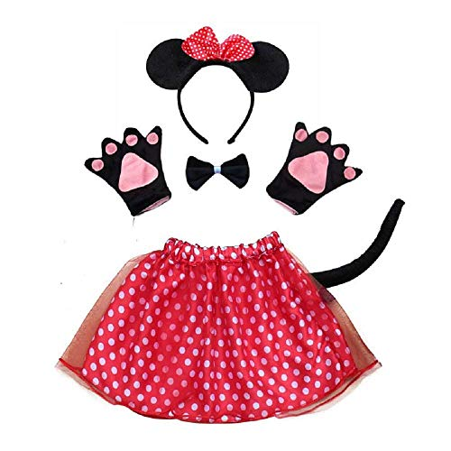 Robe costume jupon Minnie Mouse pour Halloweenavec queue et gants