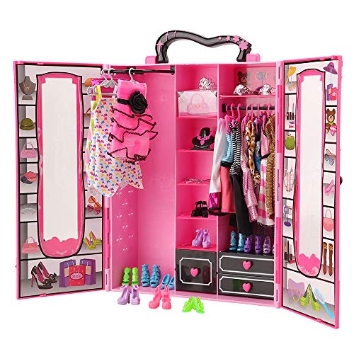 Dressing rose fushia girly portable pour vêtements de poupée style Barbie Fashionista avec portes transparentes