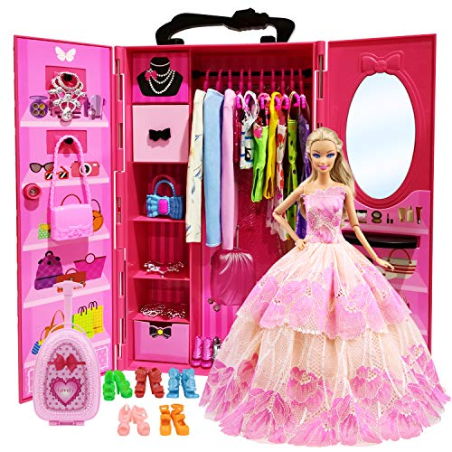 Dressing rose fushia girly Zita portable avec vêtements de poupée style Barbie avec portes transparentes